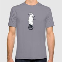 Goat on a Unicycle Mens Fitted Tee Slate SMALL
