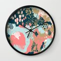 Eisley - Modern fresh abstract painting in bright colors perfect for trendy girls decor college Wall Clock