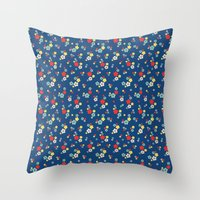 blossom ditsy in monaco blue Throw Pillow