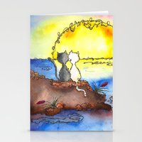 Cats at Sunset Stationery Cards