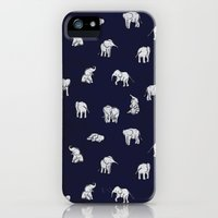 iPhone 5s & iPhone 5 Cases featuring Indian Baby Elephants in Navy by Estelle F