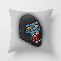 Traditional Angry Gorilla  Throw Pillow