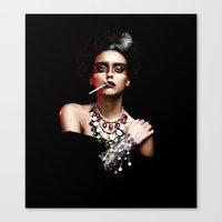 Lady Smoke Canvas Print