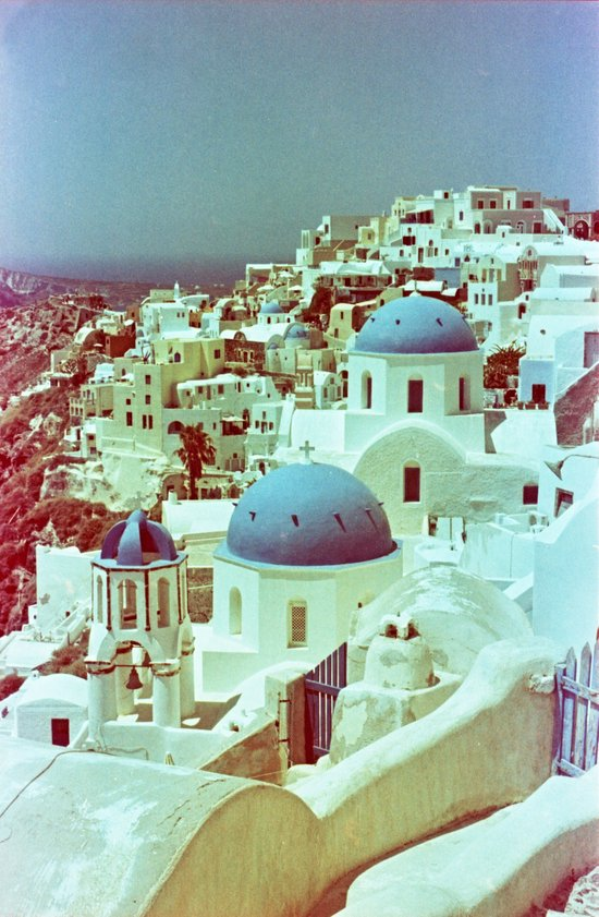 Santorini in Raspberry and Blue: shot using Revolog 600nm special effects film Canvas Print