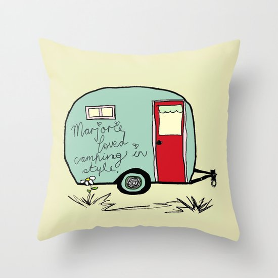 """Marjorie Loved Camping in Style"" Throw Pillow"