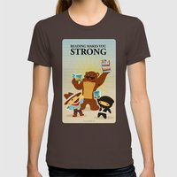 Reading makes you strong Womens Fitted Tee Brown SMALL