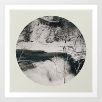 Winter Falls Circular Art Print