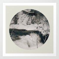 Winter Falls Circular Art Print