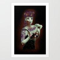 Zombie Pinup Art Print
