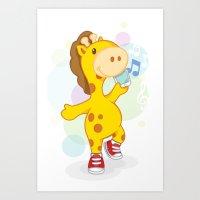 Party like Giraffe wearing converse Art Print