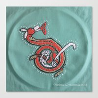 Celt Fox Embroidery Lett… Canvas Print