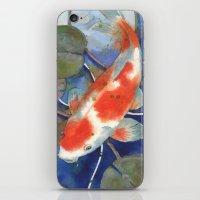 Koi art, koi painting, watercolor koi, fish art, koi tattoo iPhone & iPod Skin