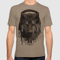 Wolf Pattern Mens Fitted Tee Tri-Coffee SMALL