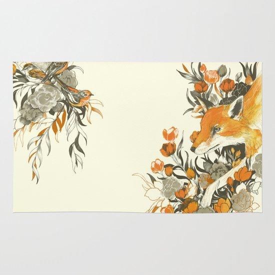 fox in foliage Area & Throw Rug