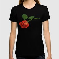 A Rose Womens Fitted Tee Black SMALL