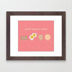 Unhappy Breakfast Buddies in Technicolor Framed Art Print