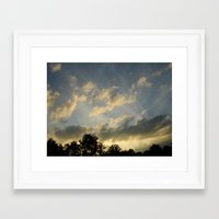 August skies falling into dark Framed Art Print