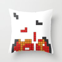 Super Mario Mushroom Tet… Throw Pillow