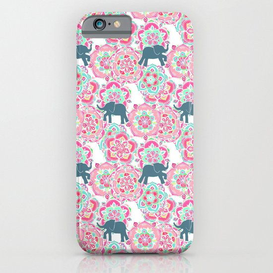 Tiny Elephants in Fields of Flowers iPhone & iPod Case