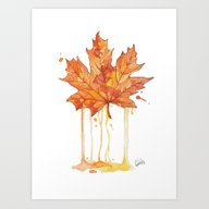 Art Print featuring Autumn Leaf by Renate Tjelta