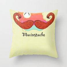The Macinstache Throw Pillow
