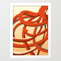 Octopus red Art Print