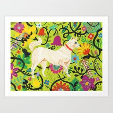 Spring Jindo Dog Art Print