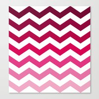 Pink Ombre Chevron Canvas Print