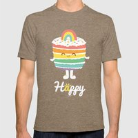 Happy Rainbow Cake Mens Fitted Tee Tri-Coffee SMALL