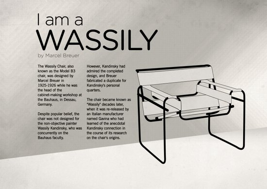 Chairs - A tribute to seats: I'm a Wassily (information) Art Print