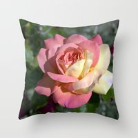 Pretty pink rose garden flower. Floral nature photography.   Throw Pillow