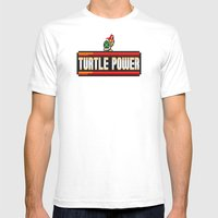 Turtle Power Mens Fitted Tee White SMALL
