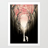 city Art Prints featuring Revenge of the nature II: growing red forest above the city. by Rafapasta