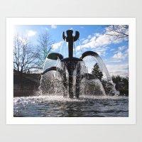 Artistic fountain Art Print