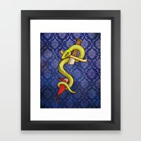 Knife and Snake tattoo print Framed Art Print