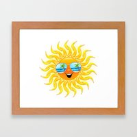 Summer Sun Cartoon with Sunglasses Framed Art Print