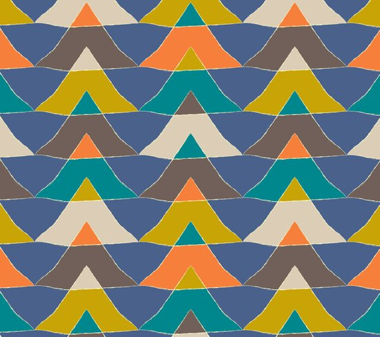 My colourful triangles in blue Art Print