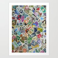 Vintage Postage Stamp Collection - 01 Art Print