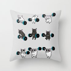 OLYMPIC LIFTING FRENCHIE Throw Pillow