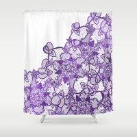 Modern lavender purple watercolor floral lace illustration Shower Curtain
