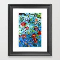 Blue Flower Swirl Framed Art Print
