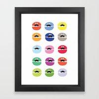 mustache macarons Framed Art Print
