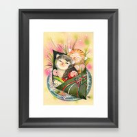 Christmas Kittens Sushi … Framed Art Print