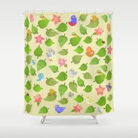 birds&leaves Shower Curtain