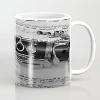 B Flat Clarinet in Black & White Mug