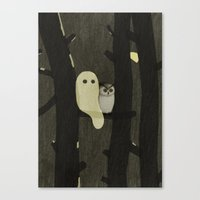 Little Ghost & Owl Canvas Print