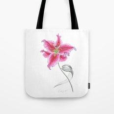Lily 02 Botanical Flower * Pink Stargazer Rubrum Lily  Tote Bag