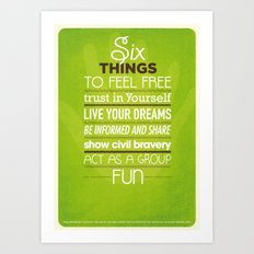 SIX THINGS Art Print