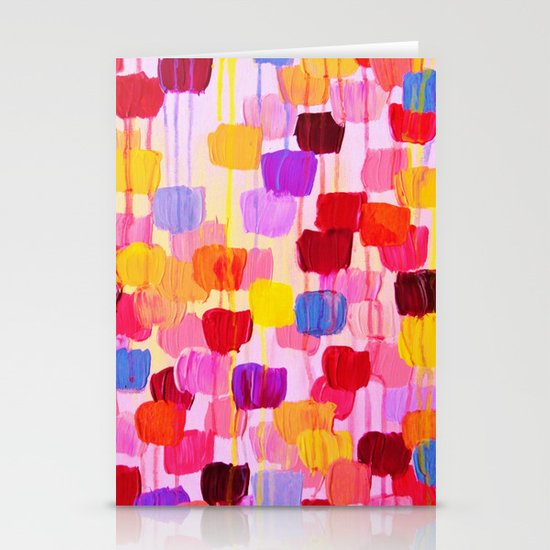 DOTTY in Pink - October Special Revisited Bold Colorful Square Polka Dots Original Abstract Painting Stationery Card