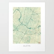 Austin Map Blue Vintage Art Print